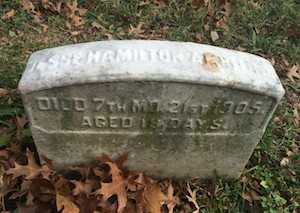 Gravestones at Fair Hill Burial Ground are simple in the Quaker tradition