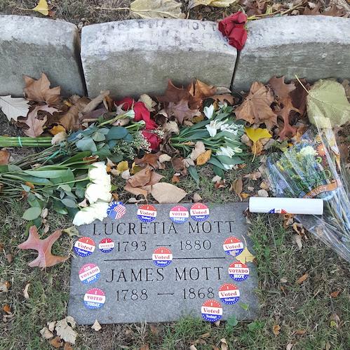 Lucretia Mott's grave after the election